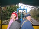 Tessa and Lizzie on Cyder Farm tractor